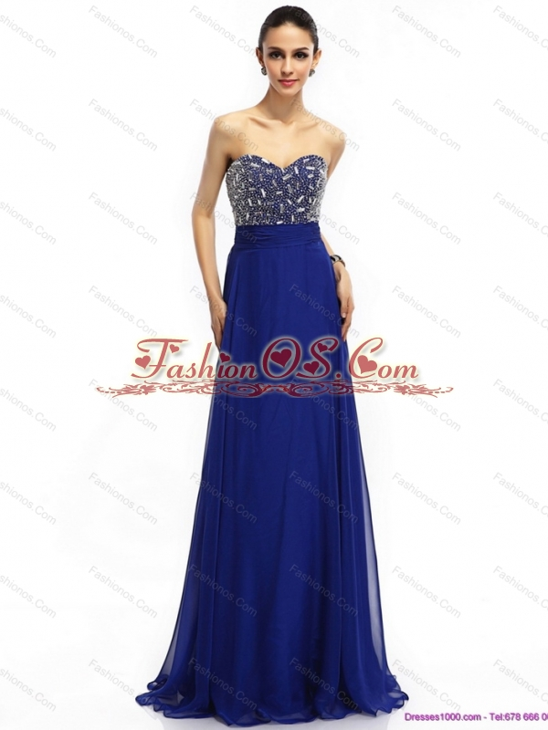 Elegant 2015 Sweetheart Prom Dress with Brush Train and Beading