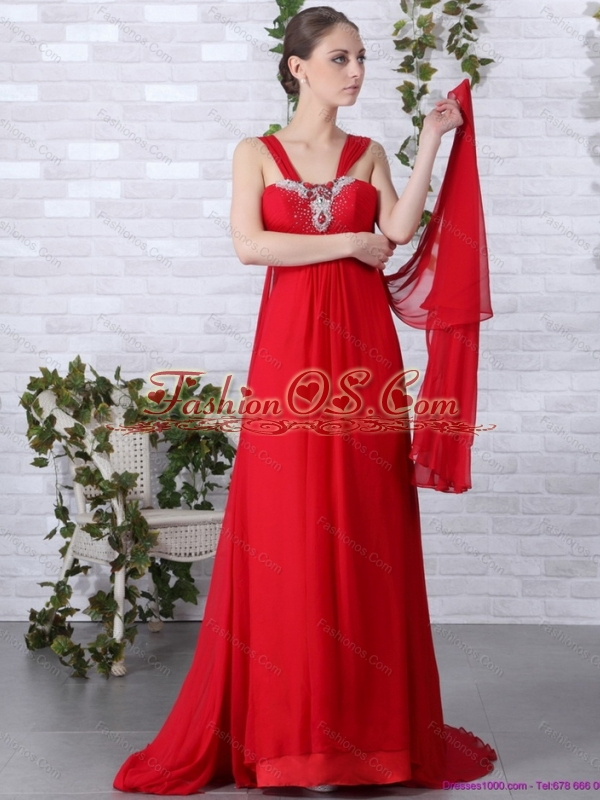 2015 Beautiful Empire Red Plus Size Prom Dress With Brush Train And