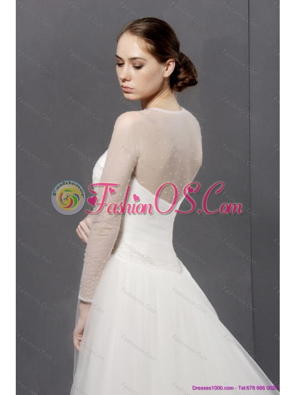 2015 Plus Size Strapless A Line Wedding Dress with Lace and Ruching