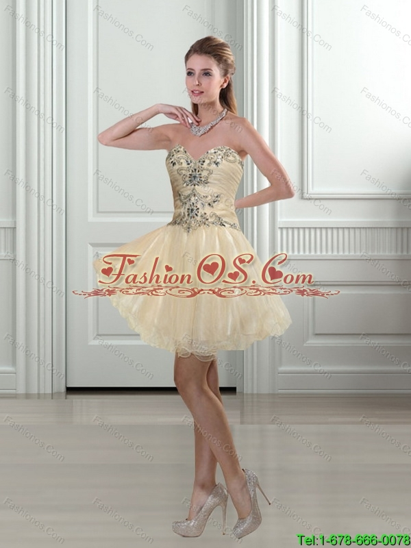 2015 Elegant Sweetheart A Line Champagne Beading Bridesmaid Dress