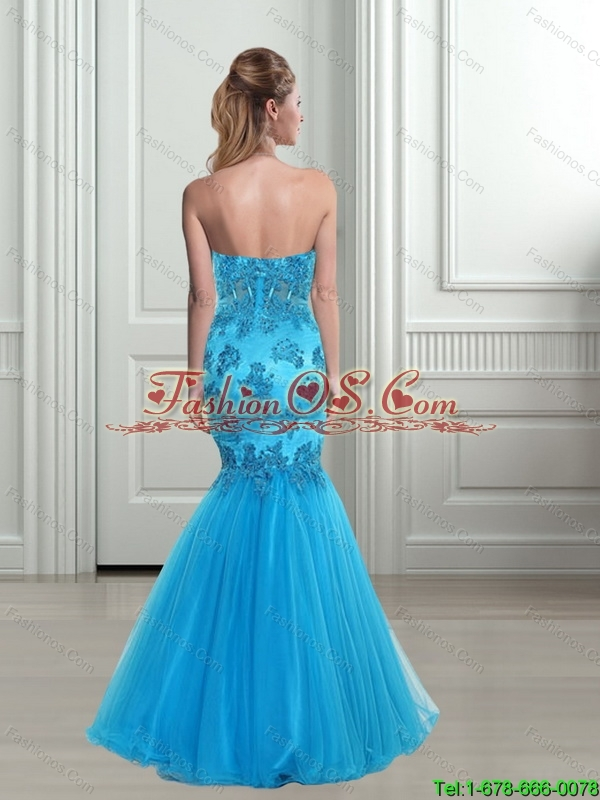 2015 Perfect Mermaid Sweetheart Baby Blue Bridesmaid Dresses with Appliques