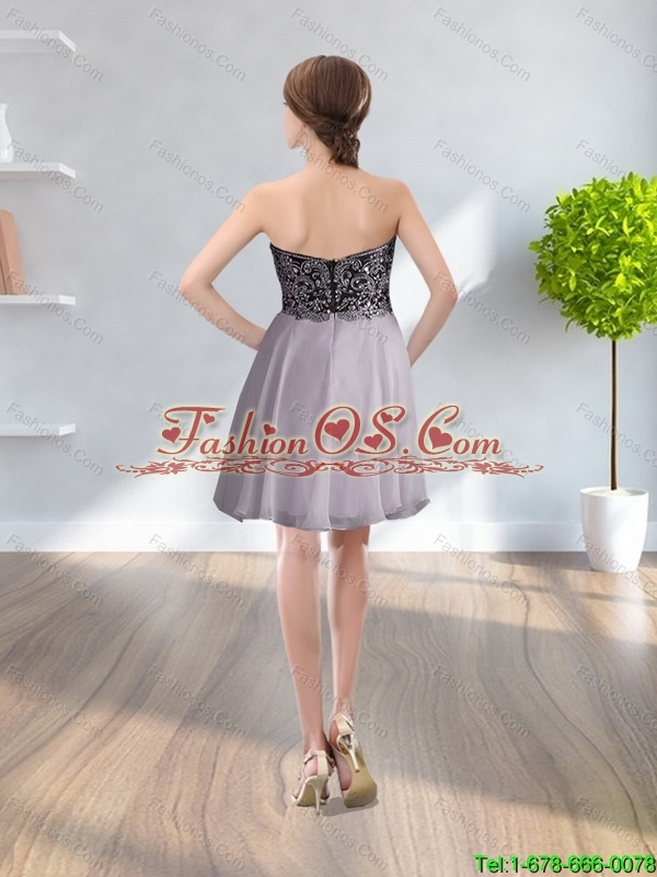2015 Popular Sweetheart Silver Prom Dress with Beading and Appliques