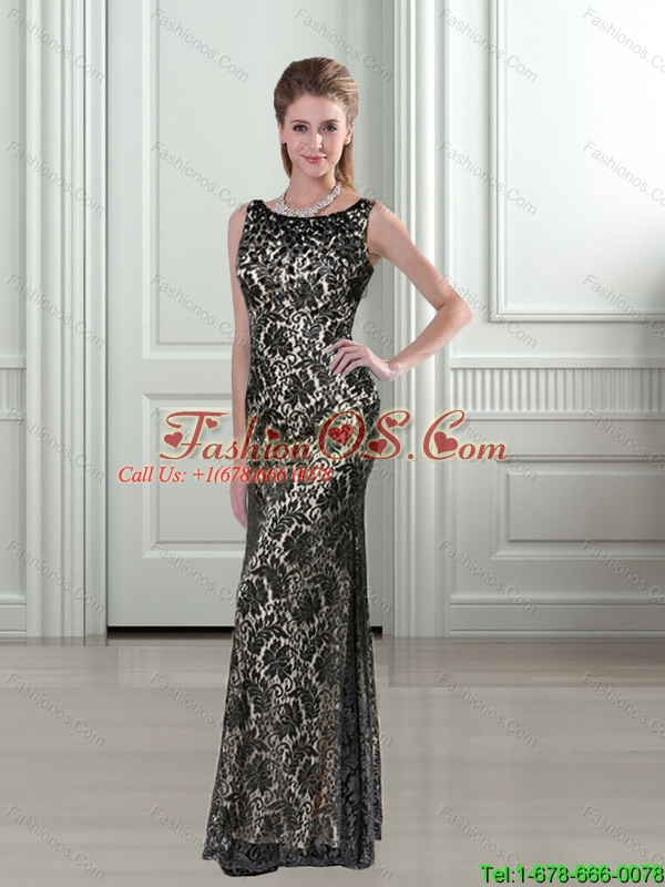 2015 Pretty Scoop Column Lace Bridesmaid Dresses in Black with Floor Length