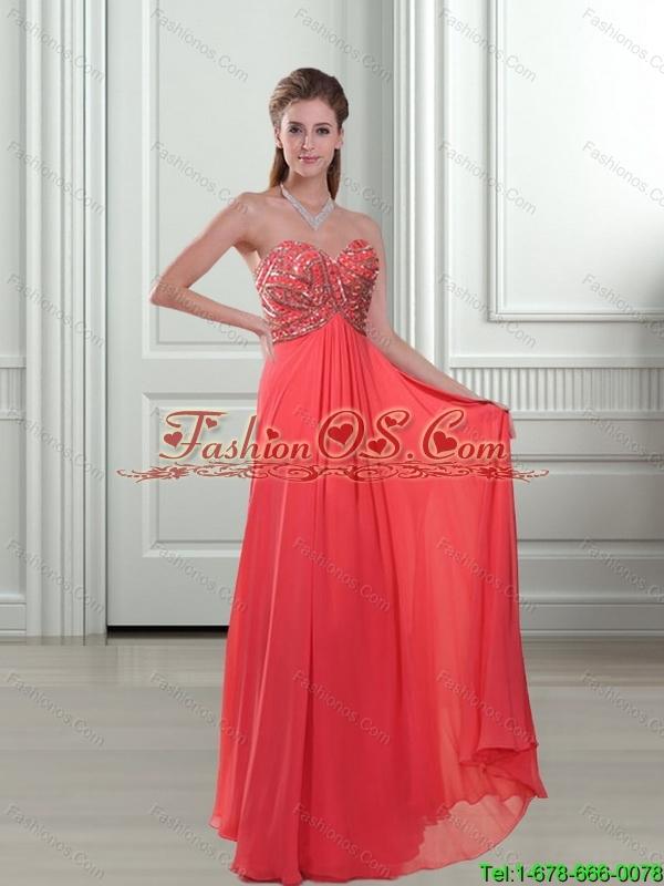 Elegant 2015 Appliques and Beading Sweetheart Watermelon Bridesmaid Dresses