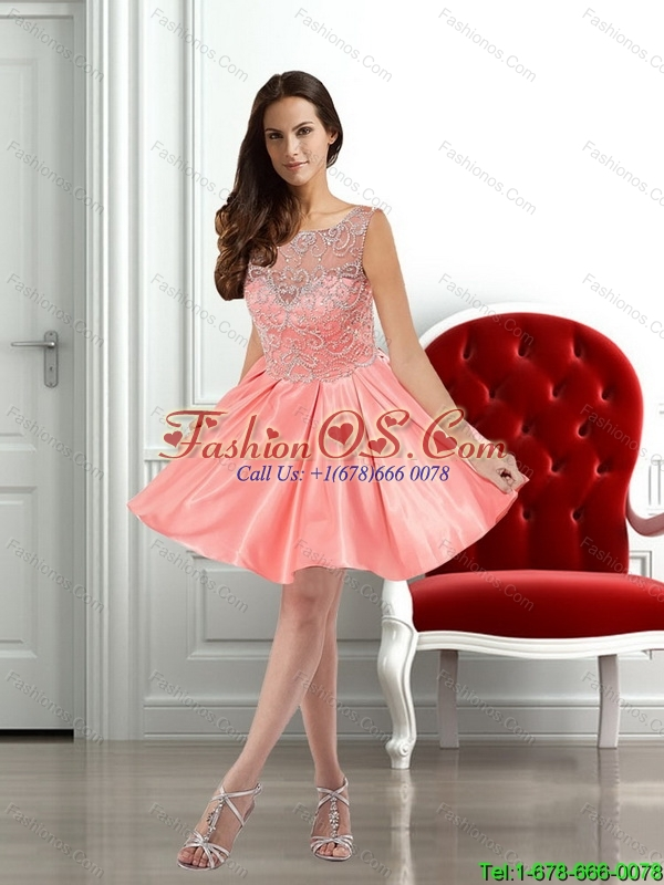 New Arrivals Watermelon Scoop A Line 2015 Prom Dress with Appliques