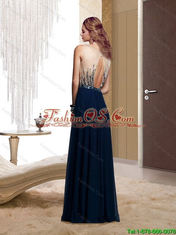 Popular Square Backless Beading 2015 Prom Dresses in Navy Blue