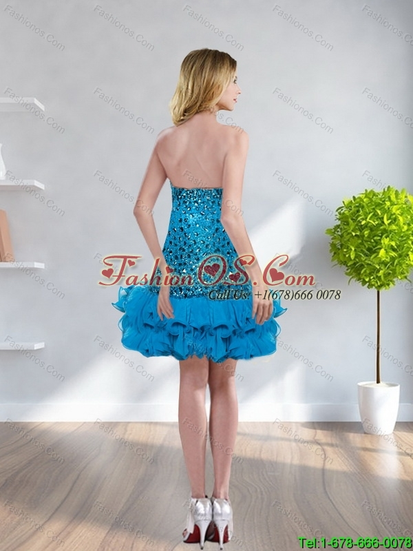 2015 New Style Sweetheart Sequins Empire BridesmaidDress in Teal