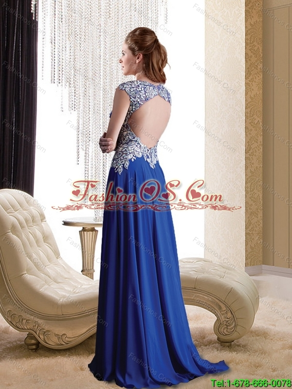 Luxurious Empire Appliques and Beading Chiffon 2015 Bridesmaid Dresses in Royal Blue