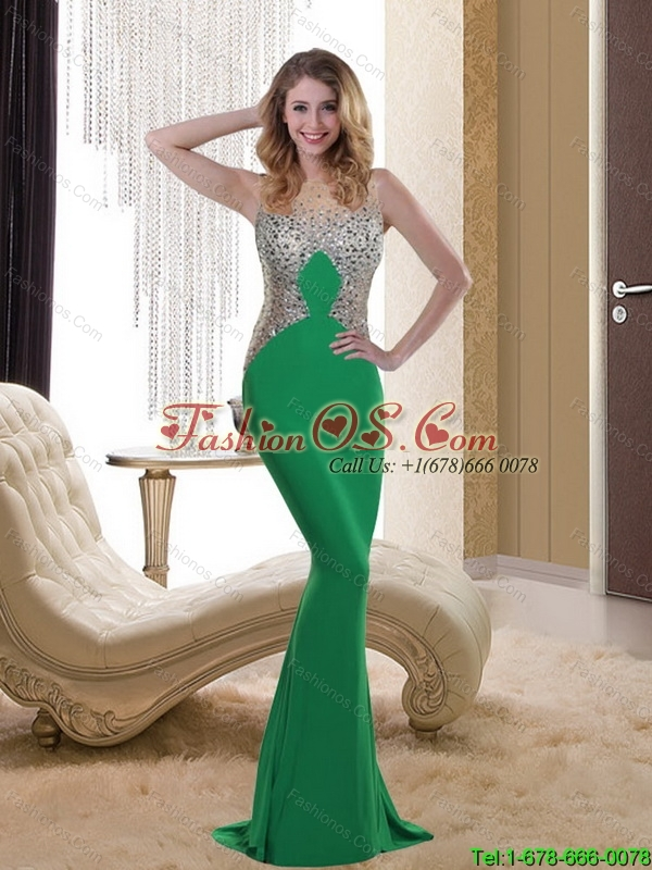 2015 Exclusive Bateau Bridesmaid Brush Train Green Dresses with Beading