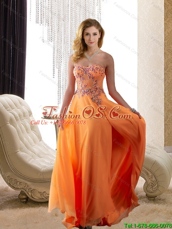 2015 Fashionable Strapless Beading Bridesmaid Dresses in Orange Red