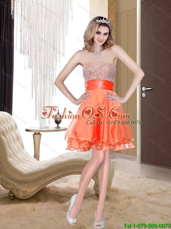 Fashionable 2015 A Line Sweetheart Beading Bridesmaid Dress in Orange Red