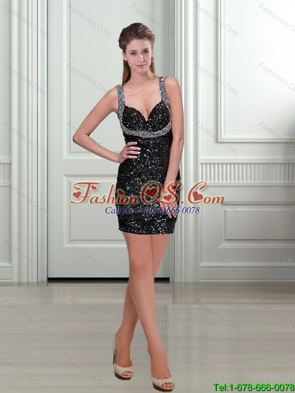 Perfect 2015 Straps Column Black Bridesmaid Dress with Sequins