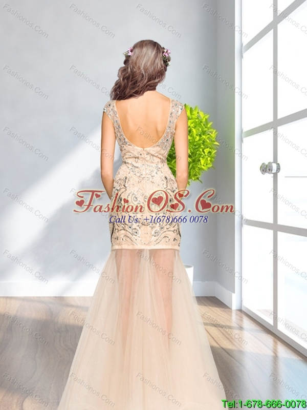 Pretty 2015 Column Scoop Beading Tulle  Bridesmaid Dresses in Champagne