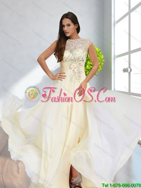 The Super Hot High Neck Champagne   Bridesmaid Dress with Appliques