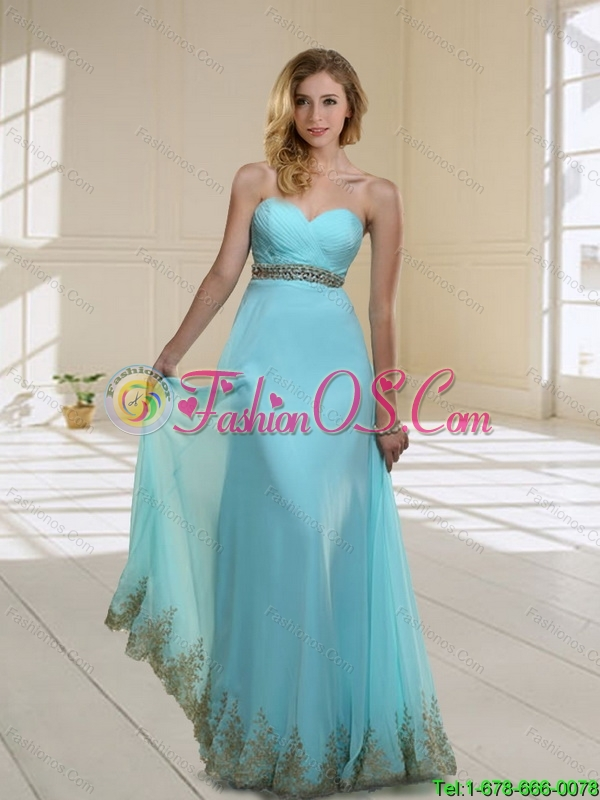 2015 Elegant Sweetheart Floor Length Bridesmaid Dress with Appliques