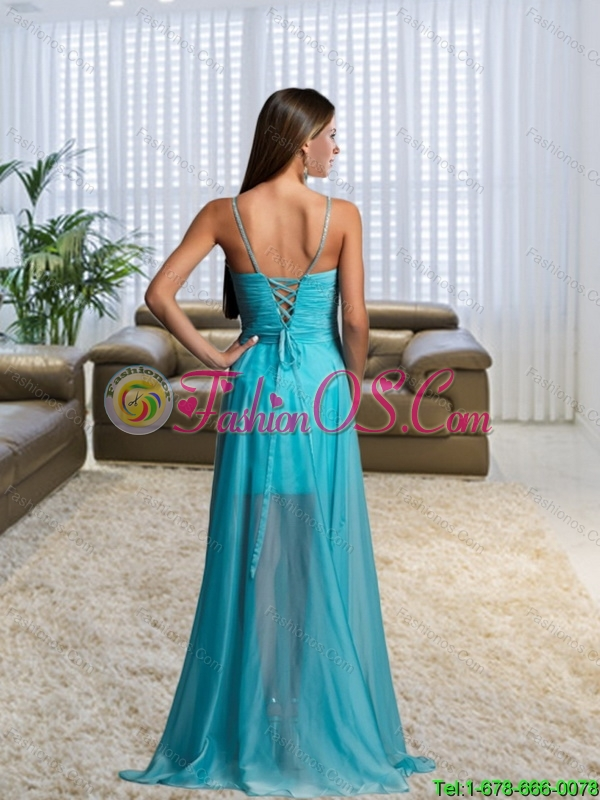 2015 Gorgeous High Low V Neck Bridesmaid Dress with Belt and Brush Train
