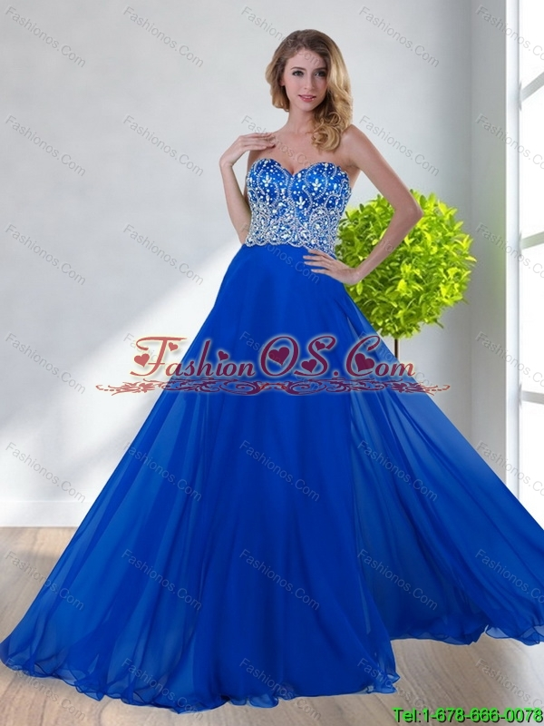 2015 Latest Empire Sweetheart Beading Royal Blue Bridesmaid Dresses