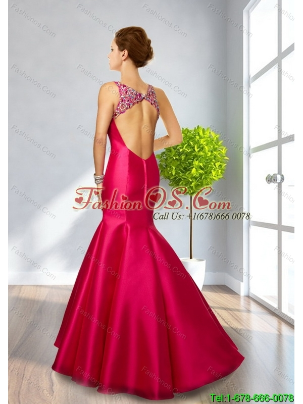 2015 Perfect Mermaid Backless Fuchsia Bridesmaid Dresses with Beading