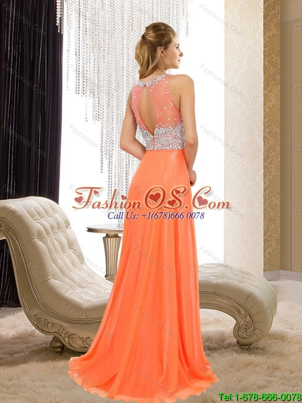 2015 Popular Empire Bateau Beading  Bridesmaid Dresses in Orange Red