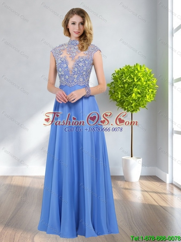 Remarkable 2015 Empire High Neck Beading Bridesmaid Dresses in Blue