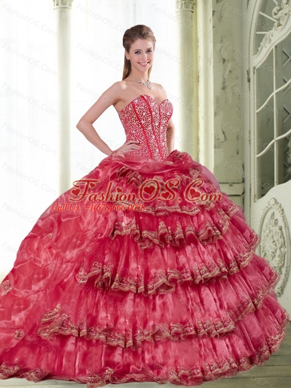 2015 Custom Made Coral Red Dress for Quinceanera with Pick Ups and Ruffled Layers
