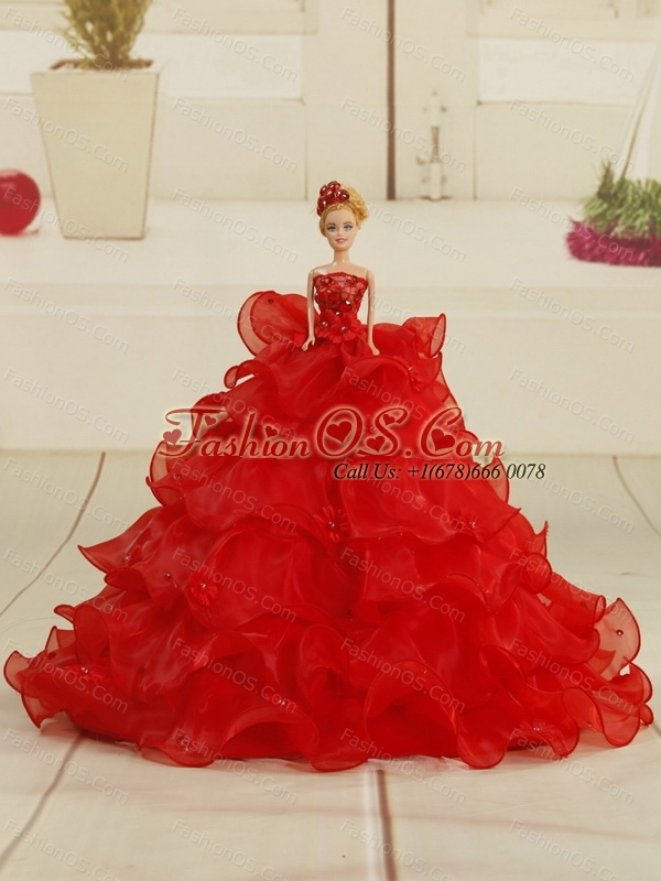2015 Custom Made Hot Pink Quinceanera Gown with Ruffles and Appliques