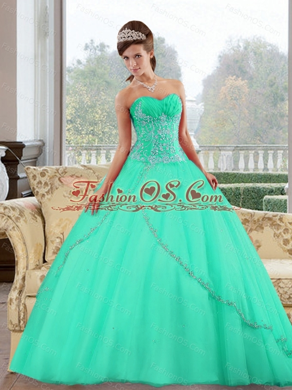 2015 Custom Made Sweetheart Ball Gown Sweet Sixteen Dresses with Appliques