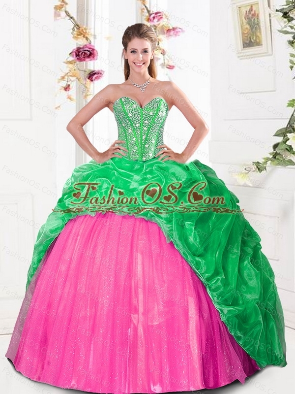 2015 Custom Made  Sweetheart Quinceanera Gown with Beading and Pick Ups