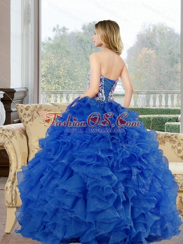 2015 Pretty Sweetheart Baby Blue Sweet 15 Dresses with Beading and Ruffles