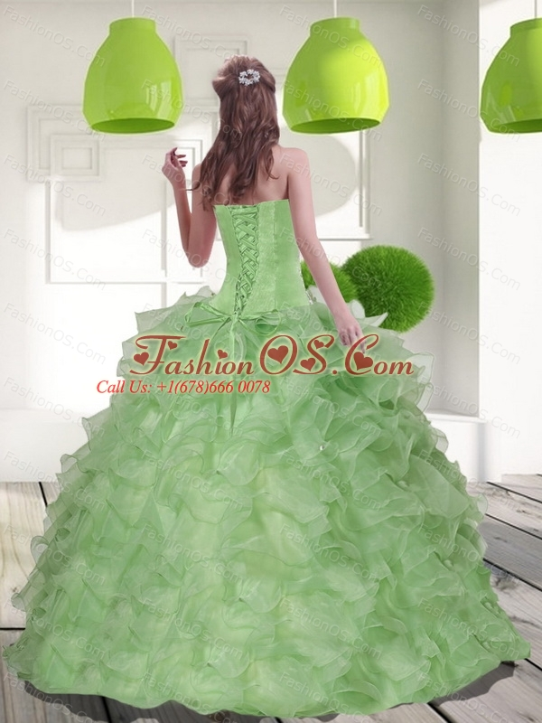 2016 Custom Made Sweetheart Quinceanera Dress with Beading and Ruffles