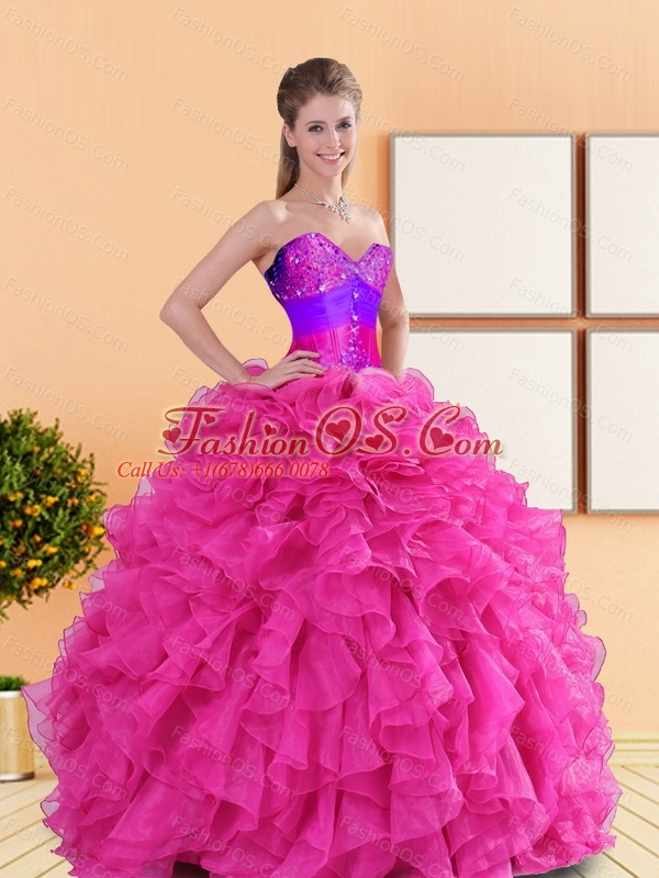 Custom Made 2015 Beading and Ruffles Sweetheart Quinceanera Dresses in Hot Pink