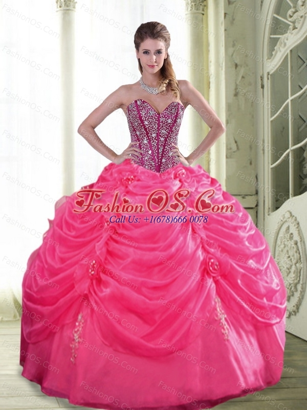 Custom Made Beading and Hand Made Flowers Quinceanera Dresses for 2015