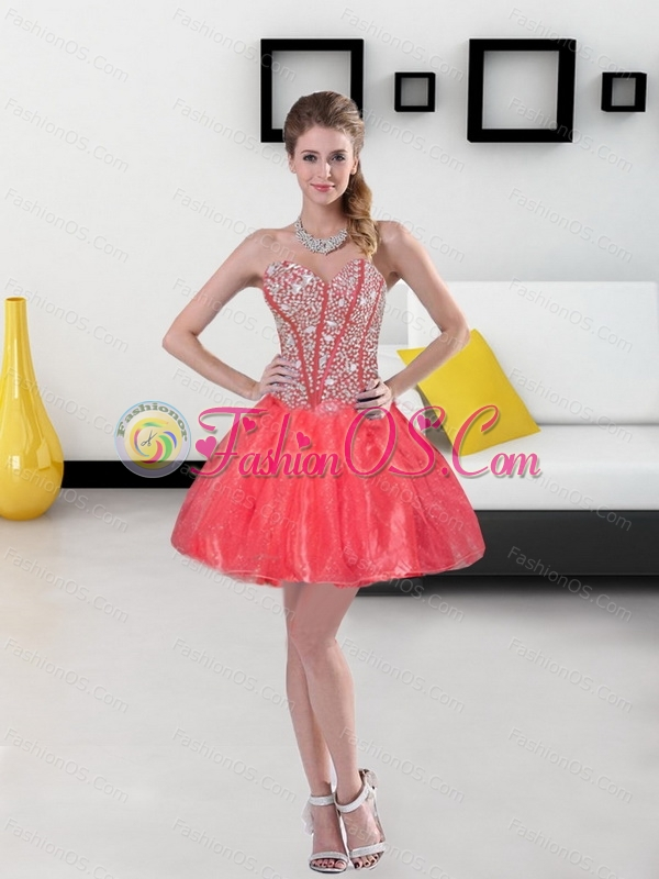 Custom Made Beading and Ruffled Layers Sweetheart Coral Red Quinceanera Dresses for 2015