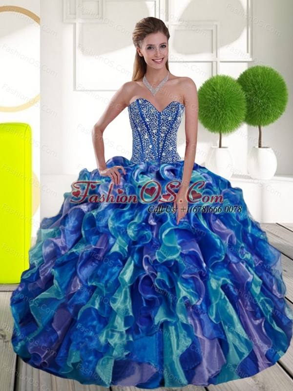 Custom Made Beading and Ruffles Sweetheart 2015 Sweet 15 Dresses in Multi Color