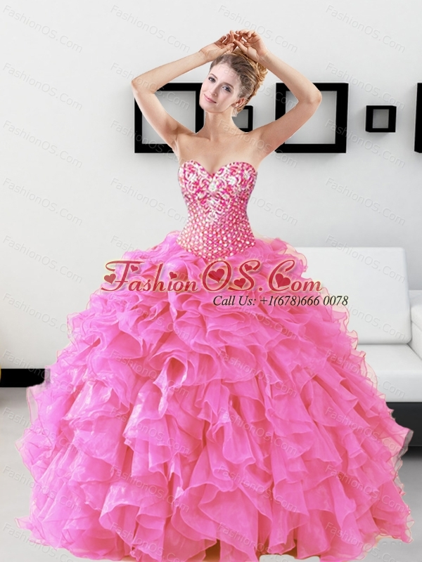 Custom Made Beading and Ruffles Sweetheart Quinceanera Dresses for 2015