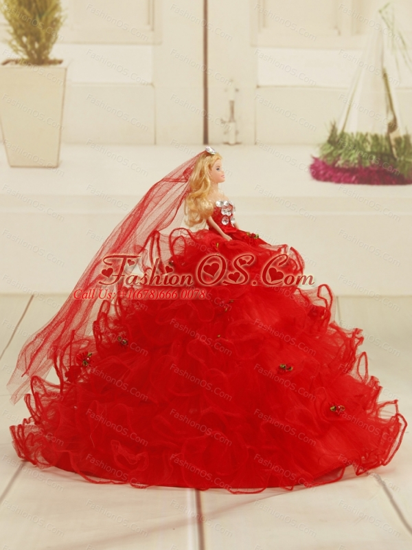 Custom Made Sweetheart 2015 Red Quinceanera Gown with Appliques and Ruffles