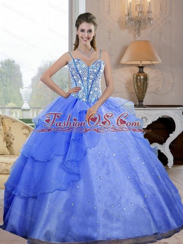 Luxurious Spaghetti Straps 2015 Quinceanera Dresses with Beading