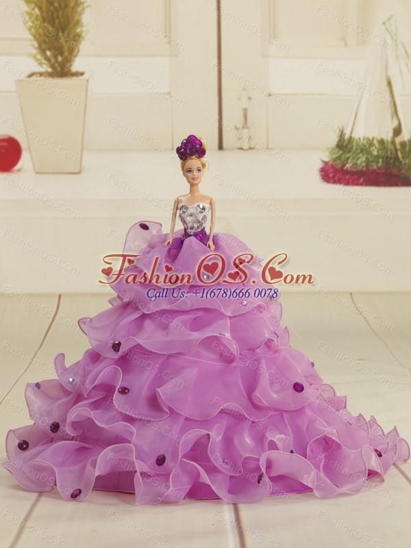 Artistic Strapless Appliques and Ruffles 2015 Quinceanera Dress in Lilac