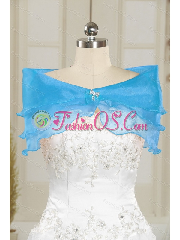 Pretty Sweetheart Blue Sweet 15 Dresses with Appliques and Ruffled Layers