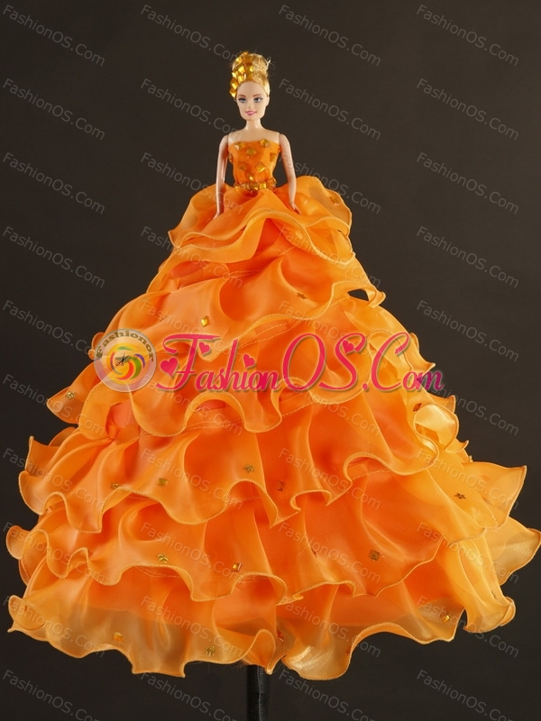 Sturning Appliques and Ruffles 2015 Sweet 16 Dress in Gold