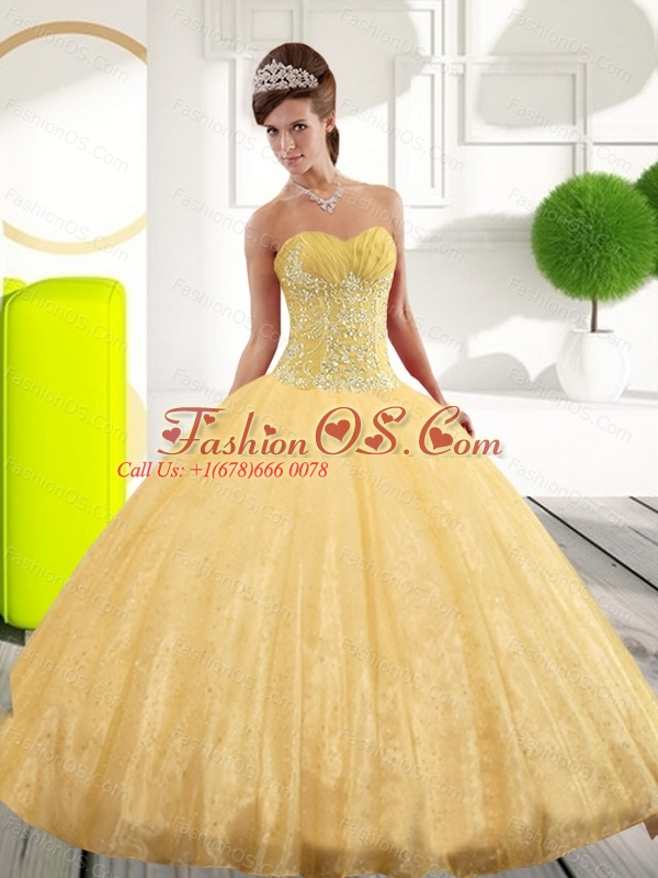 Puffy Sweetheart Appliques Gold Quinceanera Dresses for 2015 Spring