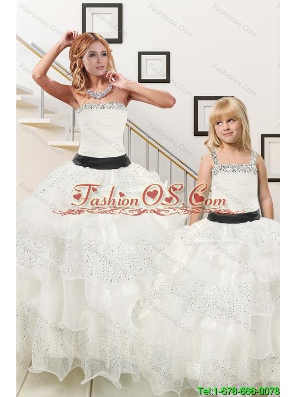 Sequins and Ruffles Ball Gown 2015 White Princesita Dress
