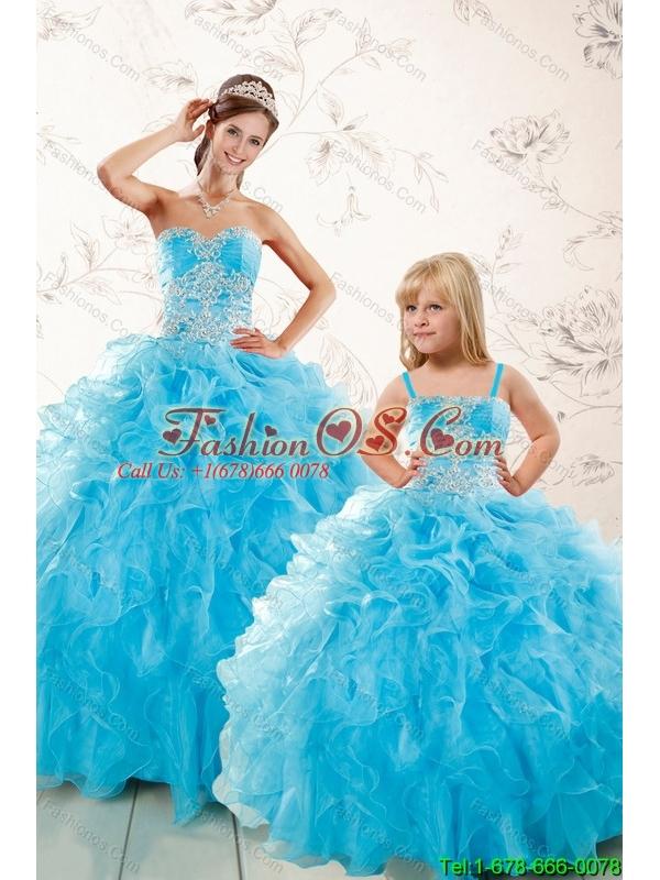 Aqua Blue Ball Gown Sweetheart Beading Princesita Dresses