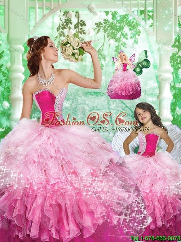 2015 Inexpensive Sweetheart Beading and Ruffles Princesita Dress in Pink