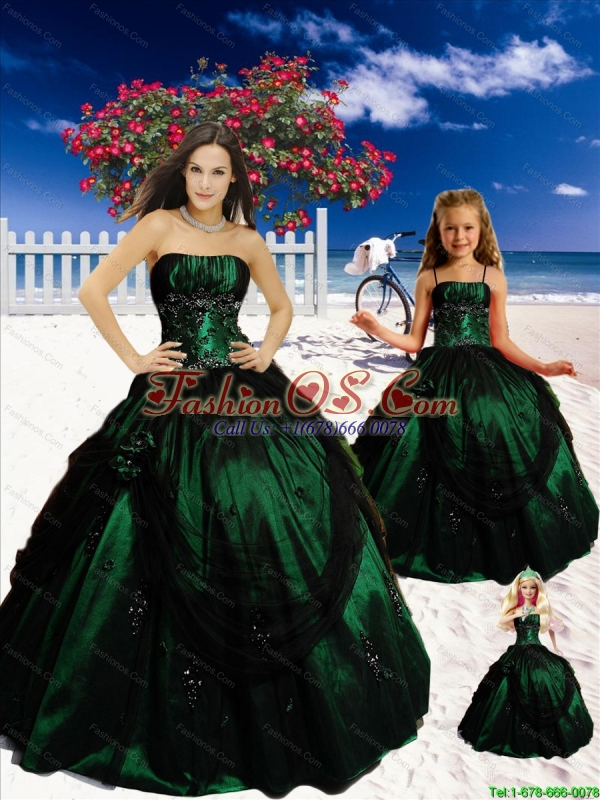 Popular Strapless Dark Green Princesita Dresses with Appliques