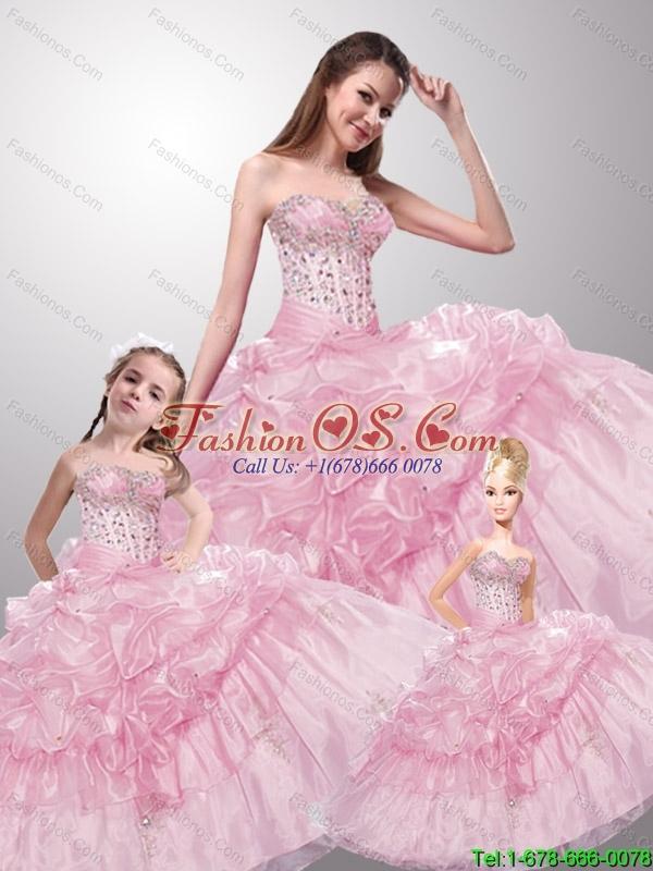 2015 Pretty Sweetheart Beading Baby Pink Dresses for Princesita