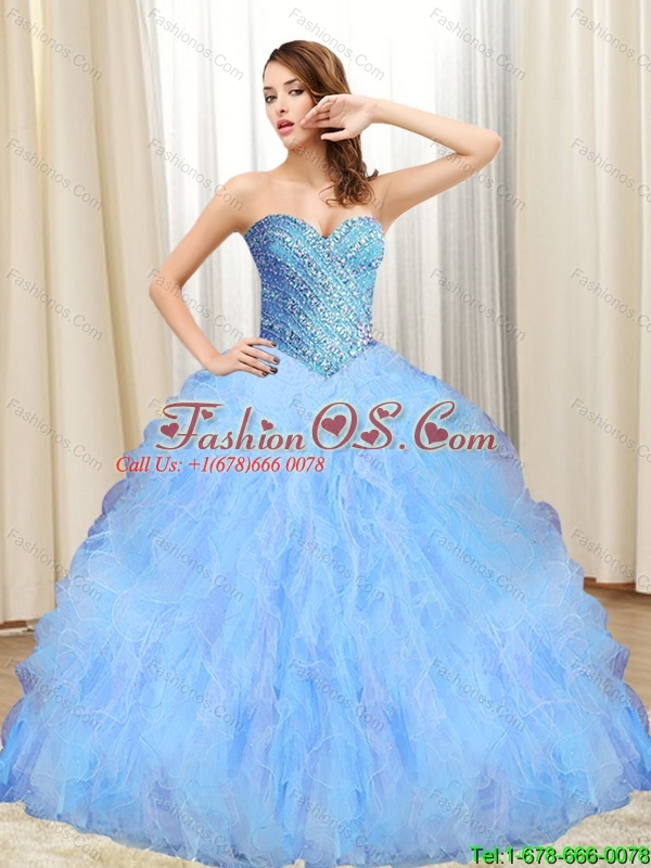 2015 Beautiful Beading and Ruffles Sweetheart 15 Quinceanera Dresses in Multi Color