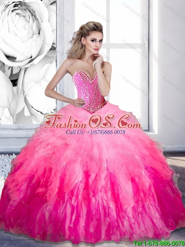 2015 Luxurious Beading and Ruffles Organza 15 Quinceanera Dresses in Multi Color