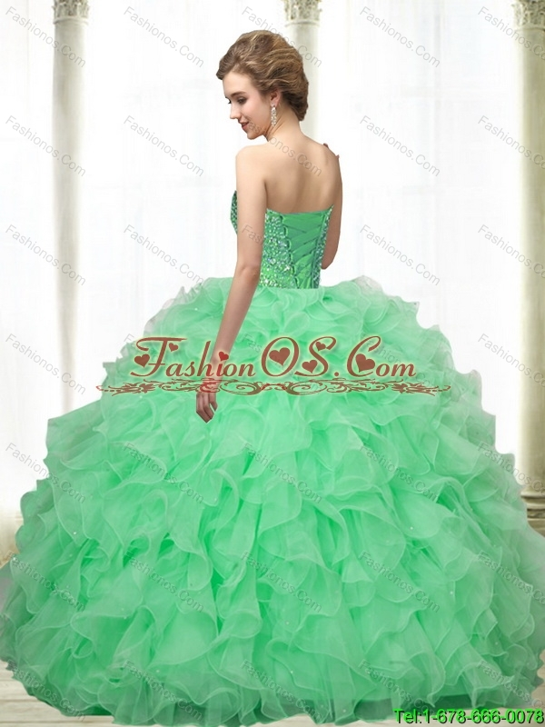Popular Beading and Ruffles Apple Green 15 Quinceanera Dresses ...