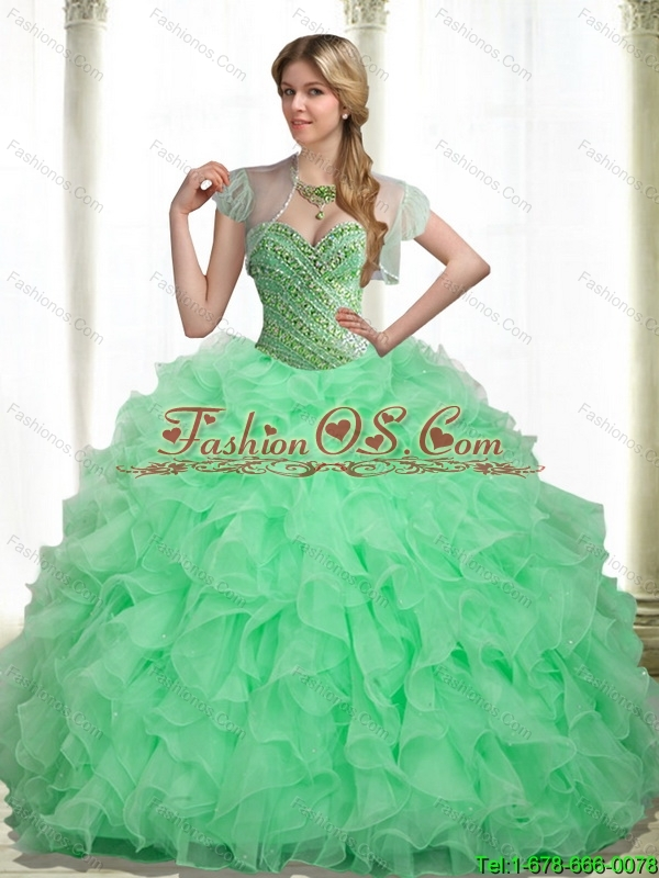 2015 Popular Beading and Ruffles Apple Green 15 Quinceanera Dresses with Sweetheart